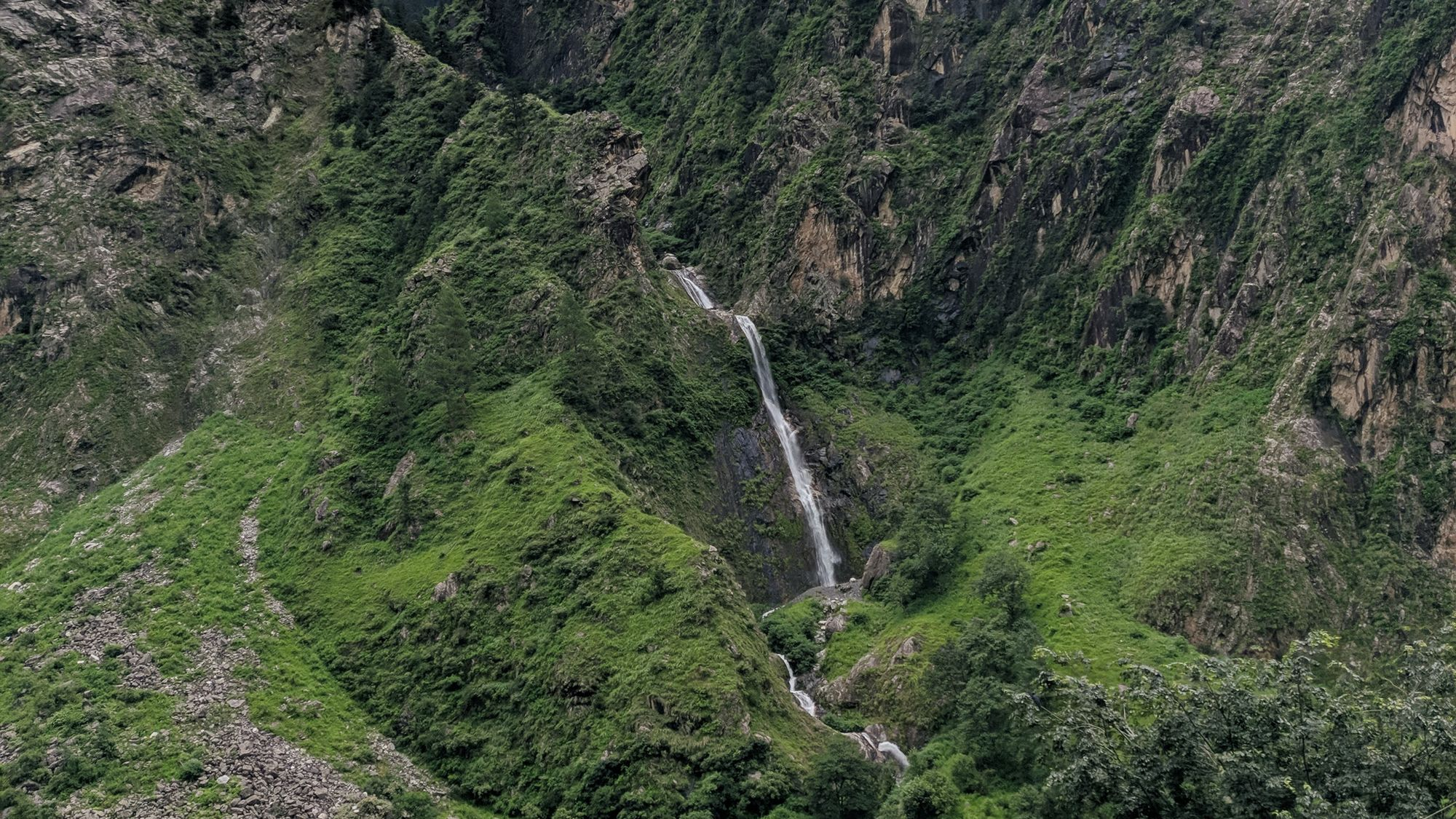 Waterfalls are a common sight during monsoon in Himalayas