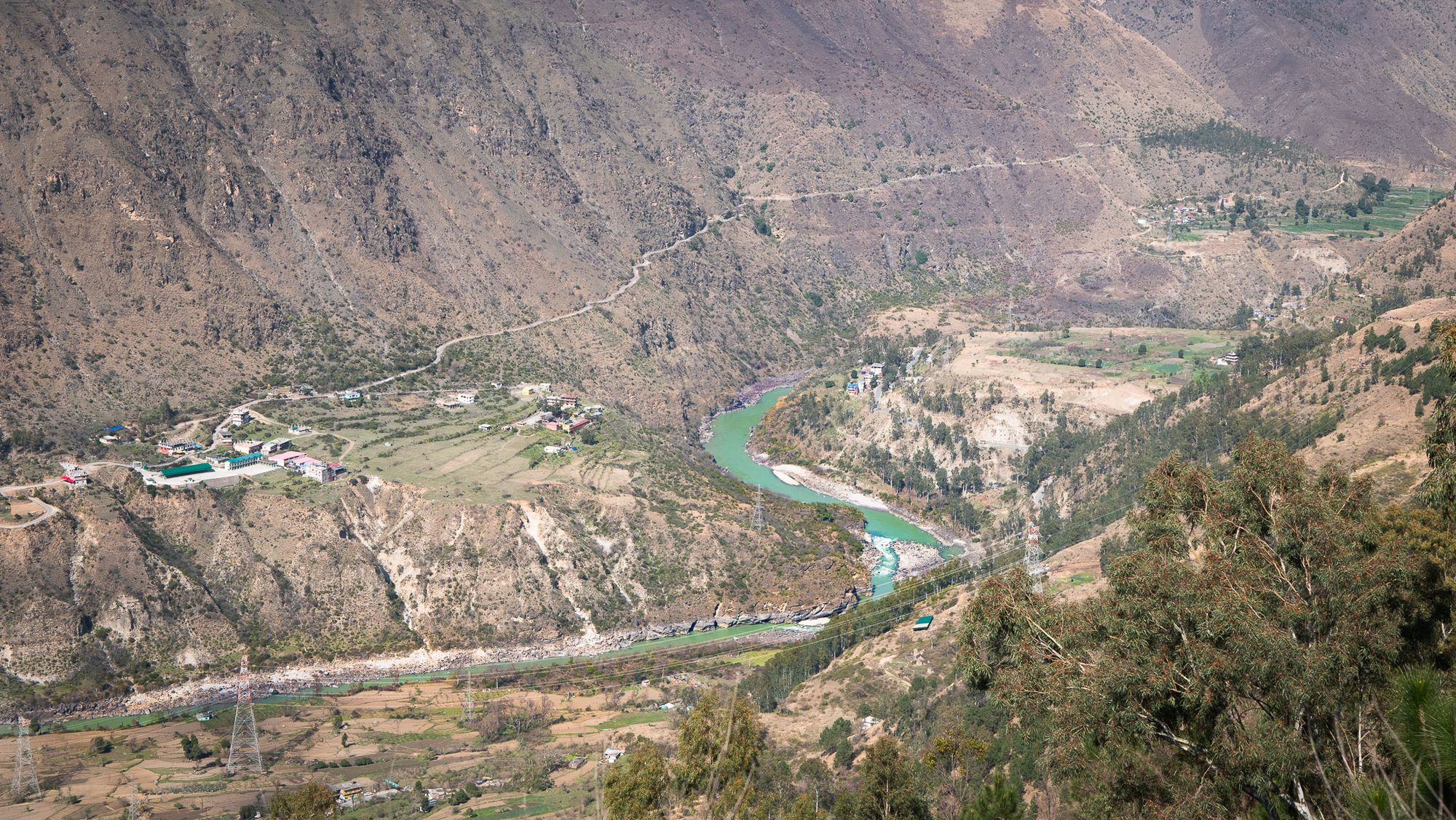 Magnificent view of Sutlej river after crossing Narkanda